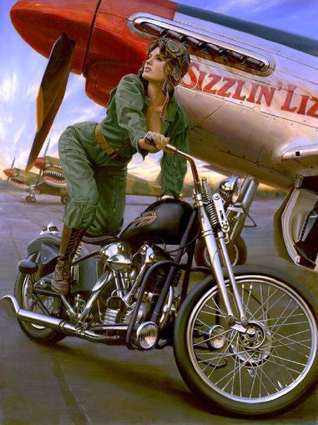 пилотка на мотоцикле