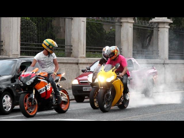 Honda CBR 1000RR Burnout, S1000RR Hayabusa Wheelie, CBR vs. 650F, R1 R6 ZX6R Hornet - Lound Sounds