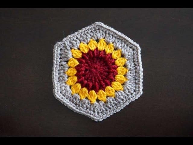 Шестиугольный мотив Подсолнух Crochet hexagon