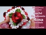 PAP Sachê de sabonete de crochê Rosa enrolada por JNY Crochê