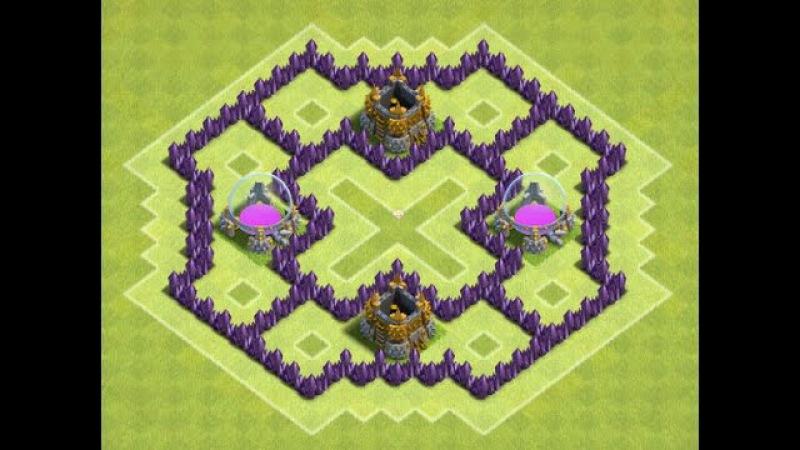 Clash of Clans - База для фарма - TH6/ТХ-6/Ратуша-6 (Лучшее расположение базы)