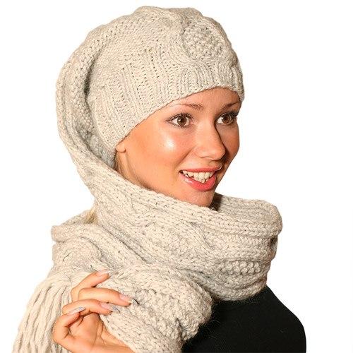 Как связать шапку с шарфом вместе