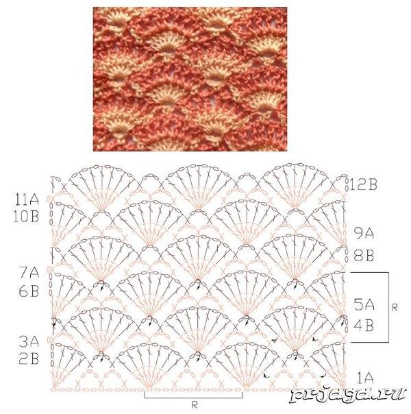 Узоры вязания спицами узор ракушка 146