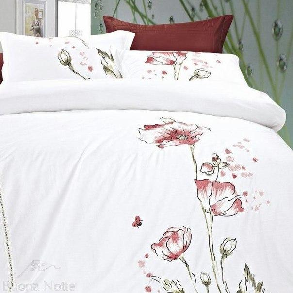 Купить белое постельное белье с вышивкой