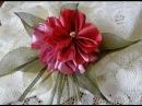 Пышный цветок Канзаши и гильоширование или выжигание по ткани