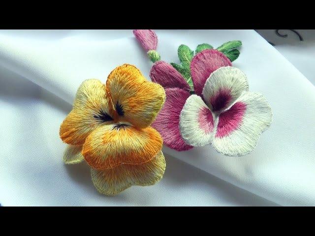 ОБЪЕМНАЯ ВЫШИВКА цветы ВИОЛА \ STUMPWORK flowers Viola