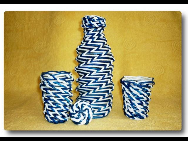 Двухцветное спиральное плетение из газет Two-color spiral weave from newspapers