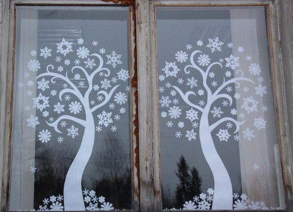 Украшение новогодние на окна