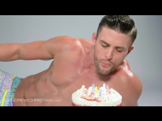 Half Naked Hunky Guy with Birthday Cake