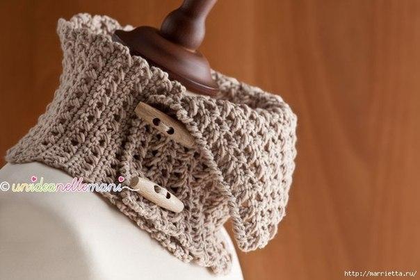 Теплый снуд связан крючком из мериносовой шерсти… (10 фото) - картинка