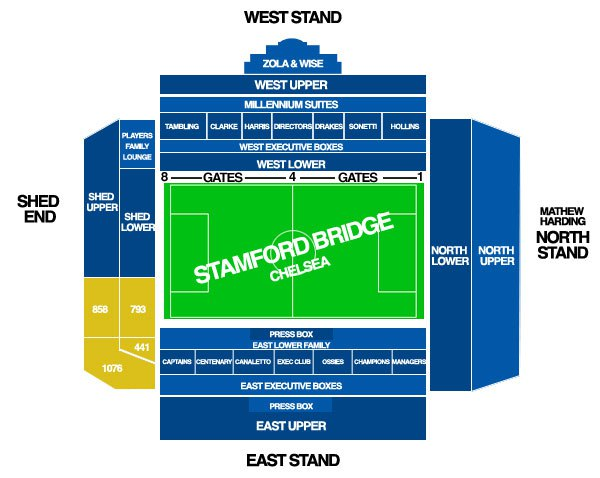 Схема стадиона Стэмфорд Бридж (Stamford Bridge)