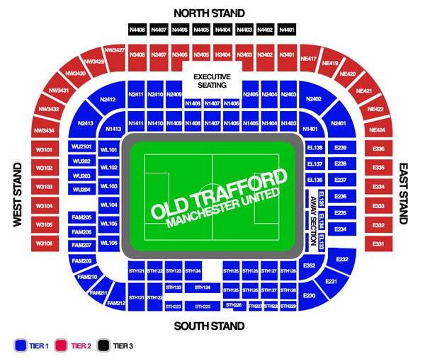 Схема стадиона Олд Траффорд (Old Trafford)