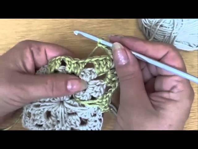 Уроки вязания крючком Бабушкин квадрат по испански Granny Square on Spanish