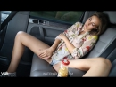 Connie Carter playing with a dildo in car