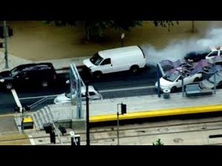 LAPD High-Speed Chase, Stolen Van Strikes Police Cars, Ends in Slippery Police Dogpile