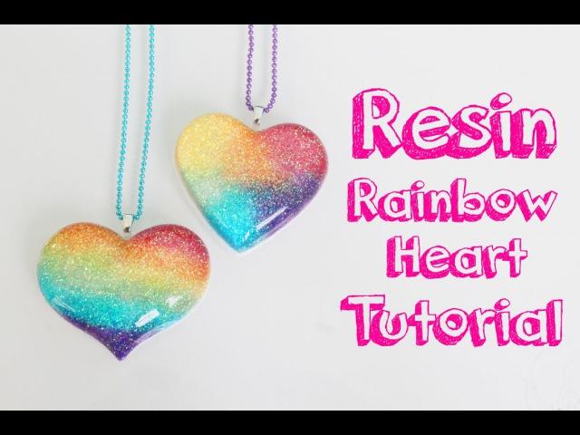 Tutorial de resina Corazon de arcoiris - Resin tutorial Rainbow heart charm