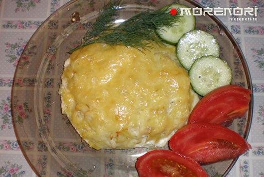 Морская рыба запеченная в картофеле с