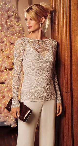 Ажурный пуловер (2 фото) - картинка