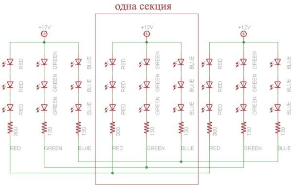 Схема светодиодной ленты: