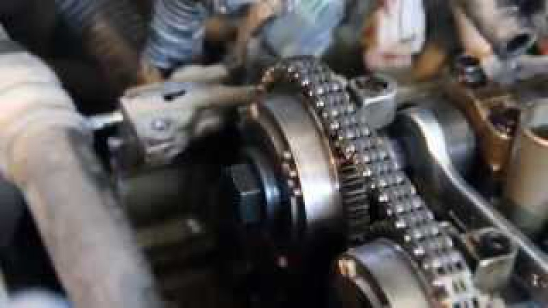 Как установить метки и цепь газораспределения на Nissan Almera