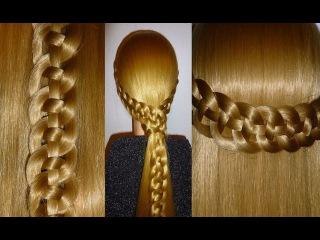 Коса из 4 прядей.Причёска для средних и длинных волос. Причёски на каждый день:в ш...