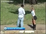 Women flashing her underwear in the public