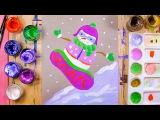 Как нарисовать снеговика на сноуборде - урок рисования для детей от 5 лет, рисуем дома поэтапно