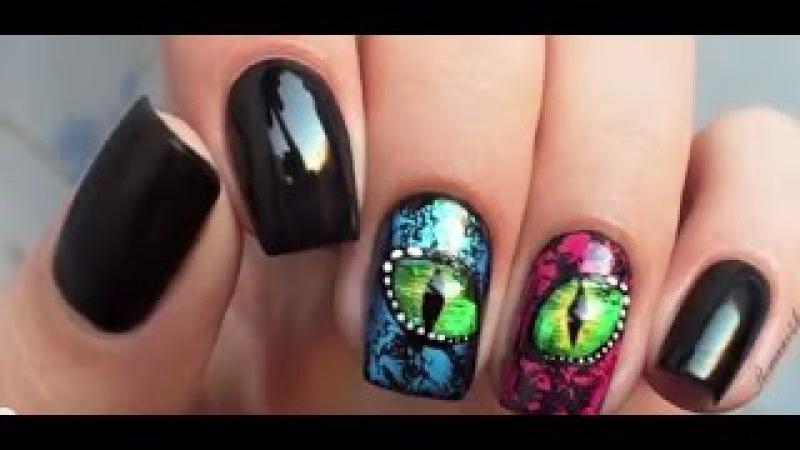 Глаз рептилии жидкие камни, эффект кракелюра**nail art tutorial