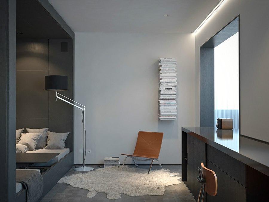 Сдержанный и графичный интерьер квартиры 33 м для прогрессивного мужчины.