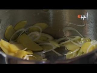 21.Крем-суп из трески с кнелями из тресковой печёнки.