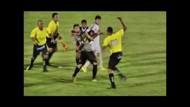 Briga entre jogadores árbitro e bandeirinha termina com gás de pimenta em MT