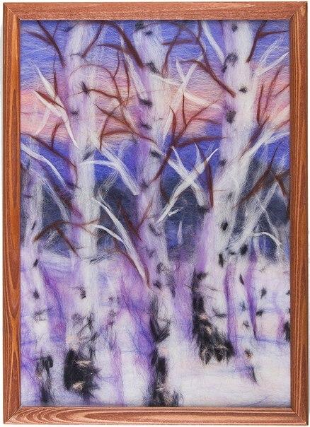 Картина из шерсти зимний лес от 2 500