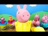 Peppa Pig BIG TOY. Family of a mumps. Toys for bathing. Raincoats from Play Doh for little pigs