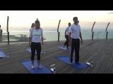 Simona Halep does yoga at the Marina Bay Sands sky park