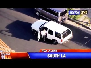 Police Car Chase Gun Fight in South Los Angeles 3/