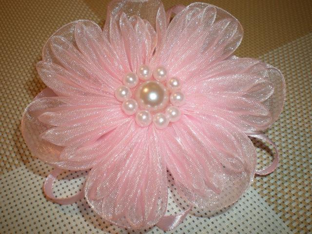 Нежный цветок резинка для волос из органзы своими руками DIY Flowers