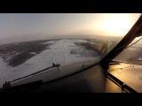 Посадка самолета  в Архангельске (вид из кабины пилота)