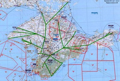 Воздушные коридоры аэродромов Крыма. Карта