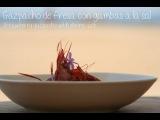 Strawberry gazpacho with shrimp salt
