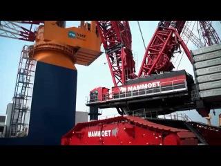 Liebherr - LR 13000 installing platform legs of the Aeolus in Bremerhaven