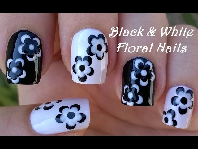 BLACK WHITE FLORAL NAIL ART / LifeWorldWomen Collab Mimzie / Monochrome Nails