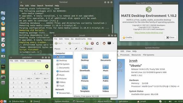 Ubuntu mate 14.04 с тестовым Mate 1.10...
