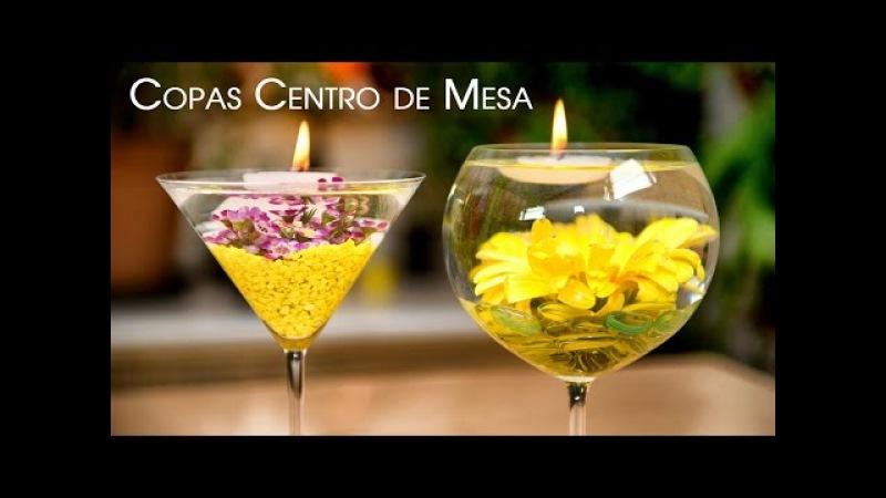Centro de Mesa Copas con Flores Sumergidas y Velas Flotantes