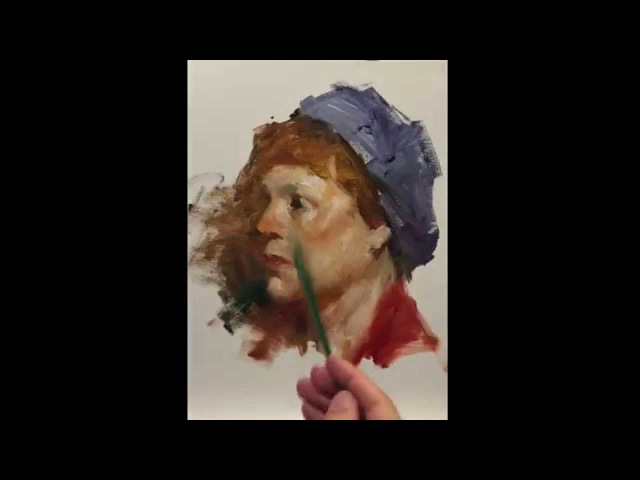 Ayris, alla prima portrait painting demo by Zimou Tan