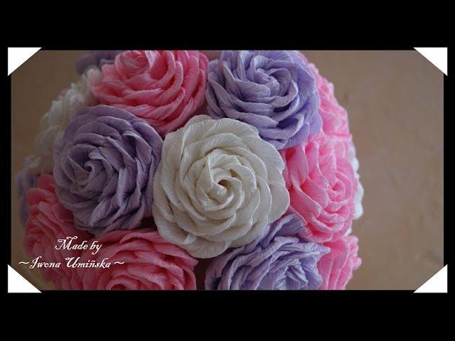 Роза из гофрированной бумаги с фигурным краем
