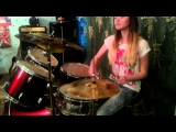 Drum cover 30 Seconds To Mars - Up in the Air by 16 year old girl
