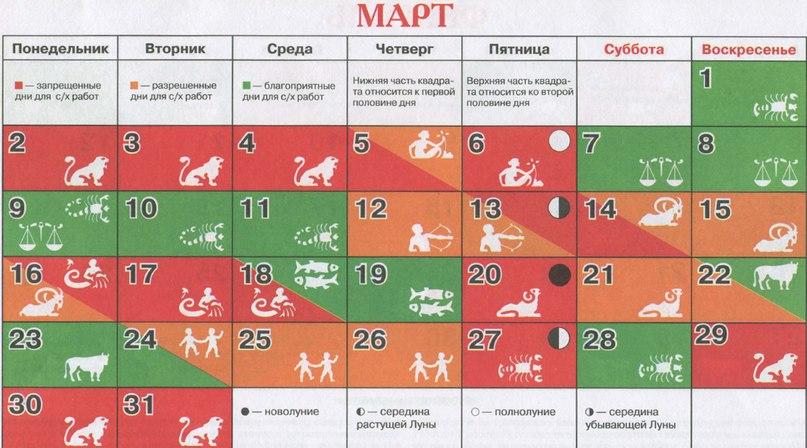 Март — лунный календарь огородника на март 2015, работы в марте