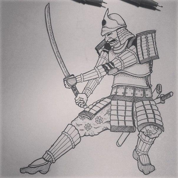 эскизы самураев: