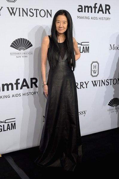 кожаное платье в пол Вера Вонг Гала-ужин amfAR-2015 в Нью-Йорке