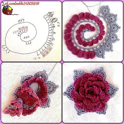 Ideas para el hogar: Flor volùmetrica tejida en ganchillo